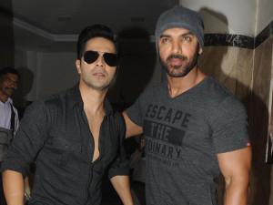 Varun Dhawan and John Abraham promote 'Dishoom' on Fever 104 FM