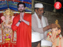 Nana Patekar and Neil Nitin Mukesh snapped while Ganpati Visarjan