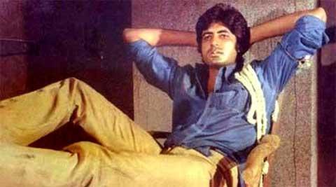 Amitabh Bachchan in blue shirt Deewar