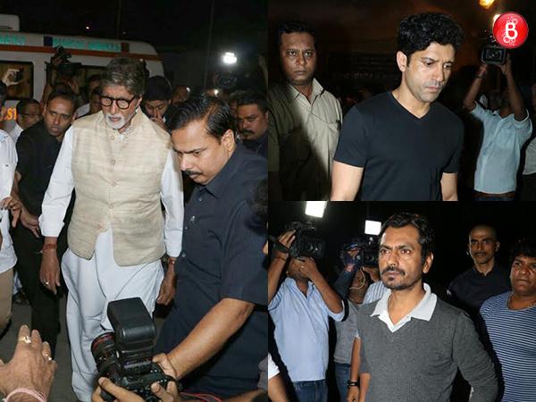 Amitabh Bachchan, Farhan Akhtar and Nawazuddin Siddiqui snapped at Om Puri's funeral