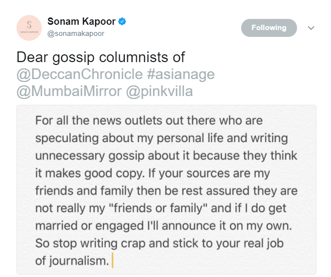Sonam Kapoor lashes out at Bollywood portals for speculating about her marriage