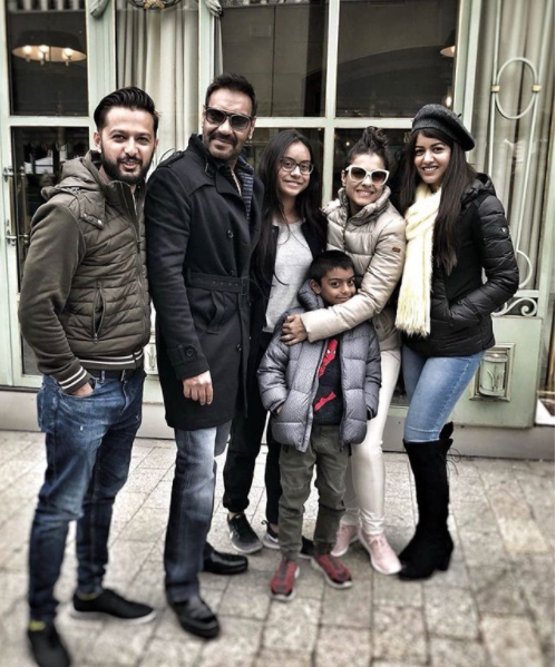 Ajay Devgn and family with Vatsal Seth and his wife