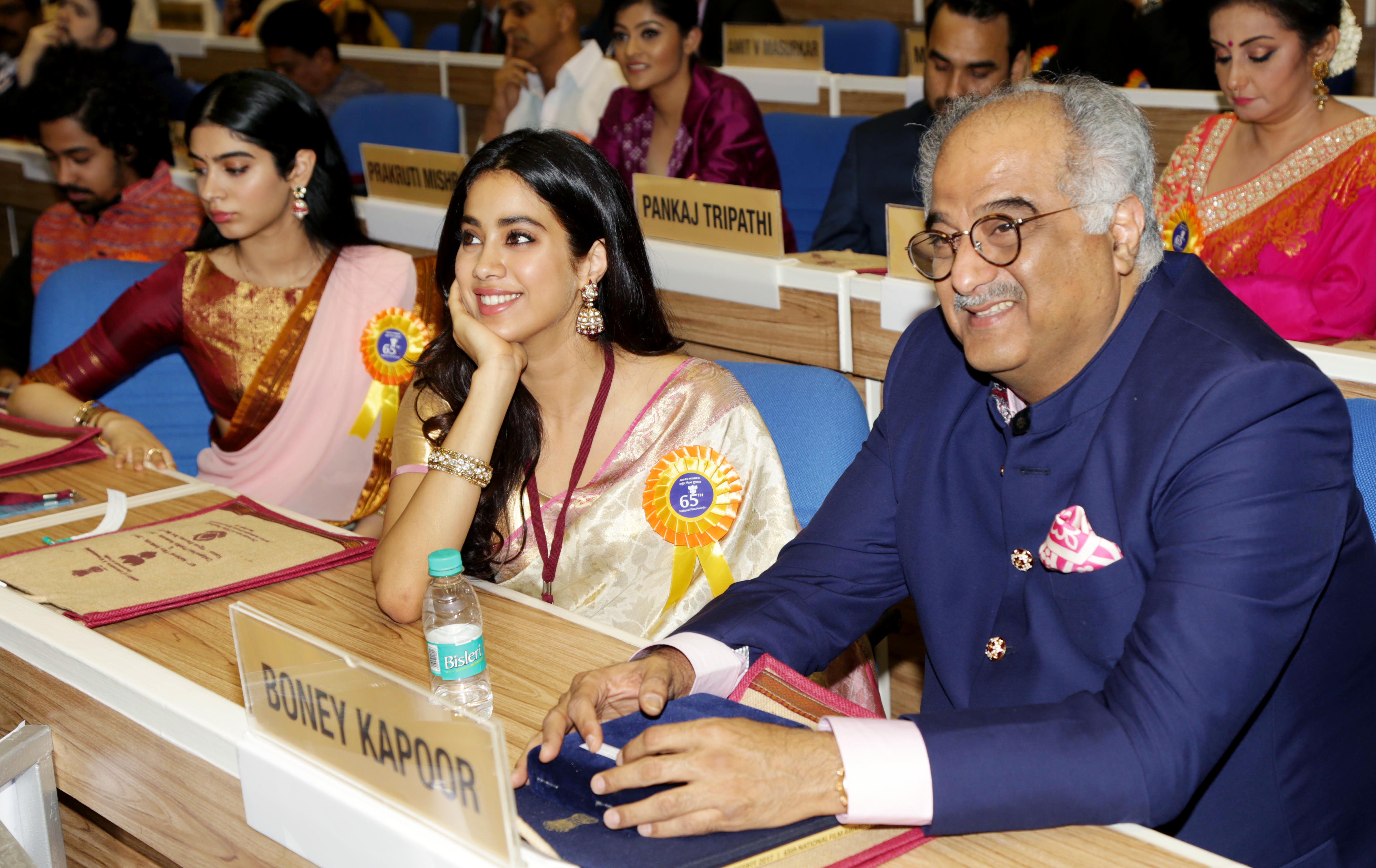 Boney Kapoor with daughters at 65th National Awards